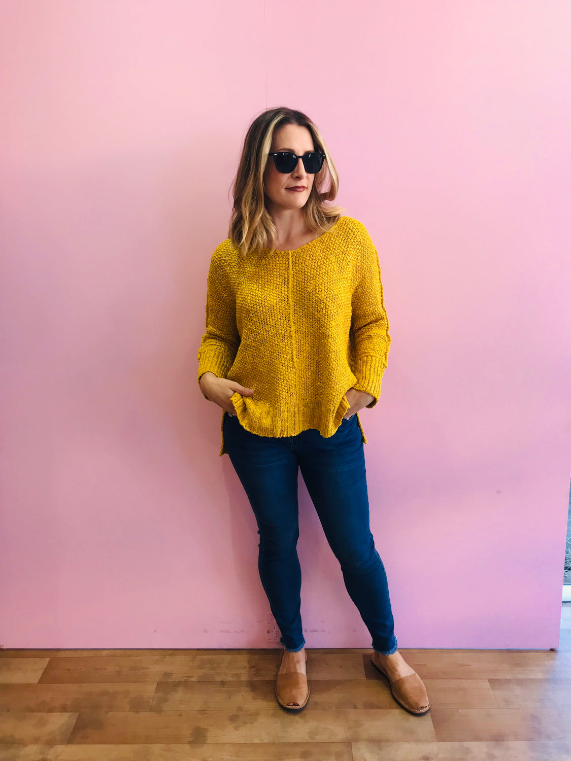 Popcorn Knit - Mustard Yellow
