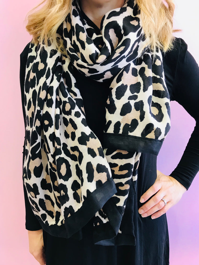 Beige with Black Border Leopard Print Scarf