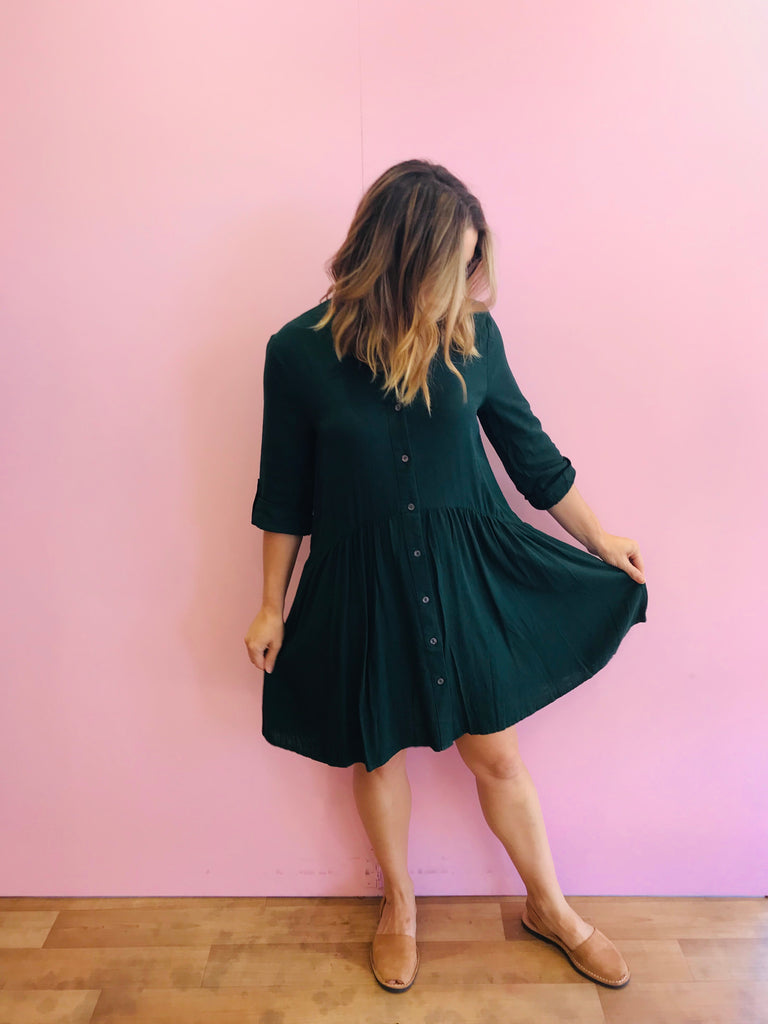 Into the Wild Linen Emerald Green Shirt Dress
