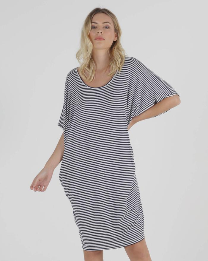 Maui Dress - Navy Blue/White Strip
