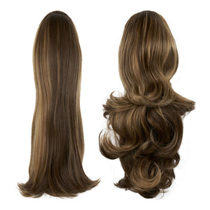 "Pony Piece Clip In Hair Piece 16"" - 20"" Curly and Straight - Bronzed"