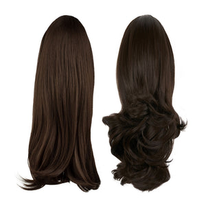 "Pony Piece Clip In Hair Piece 16"" - 20"" Curly and Straight - Dark Chocolate"