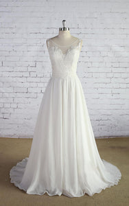 Chiffon Sleeveless Scoop Neck A-Line Dress With Lace Bodice and Low-V Back