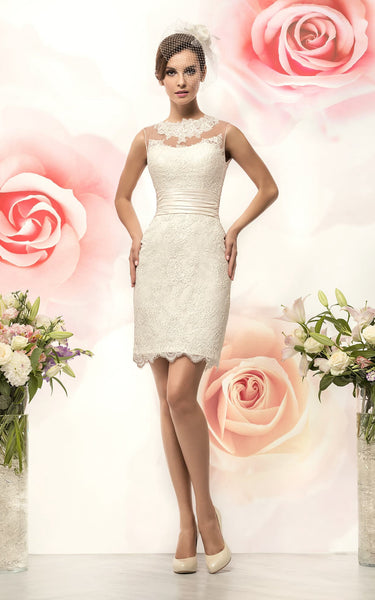 Sleeveless Appliqued Short Pencil Lace Dress