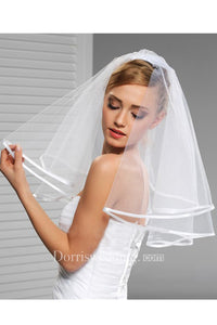 Korean Style New Double White Exquisite White Satin Cloth Edging Short Cute Small Veil with Hair Comb