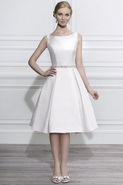 sheer Scoop-neck Sleeveless Satin A-line Wedding Dress With Embellished Waist