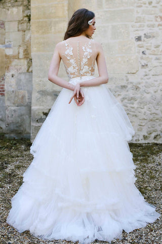 Tulle A-Line Ball Gown Wedding Dress With Illusion Appliqued Top