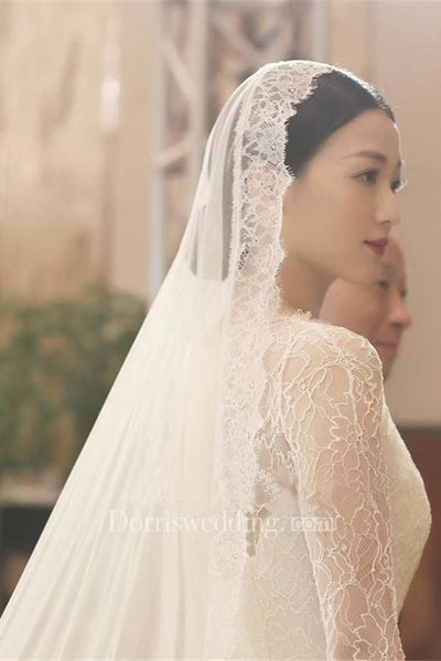 Soft Bride Wedding Veil For Travel Photography With Lace Eyelash Super Long Train