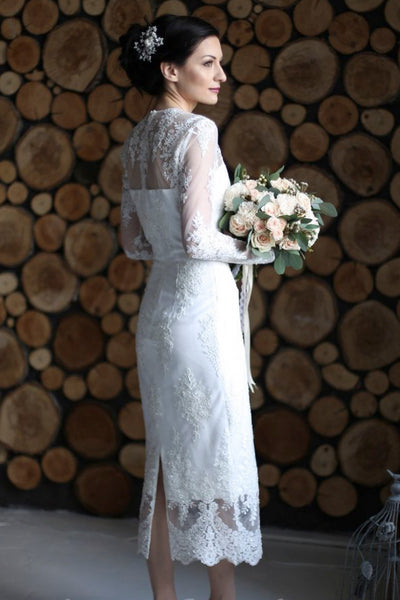 Split Back Sheath Ankle-length Wedding Dress With Illusion Lace Appliques
