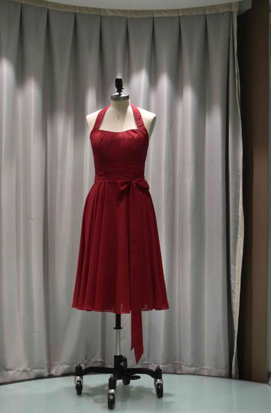 Halter Neck A-Line Chiffon Tea Length Bridesmaid Dress-100358
