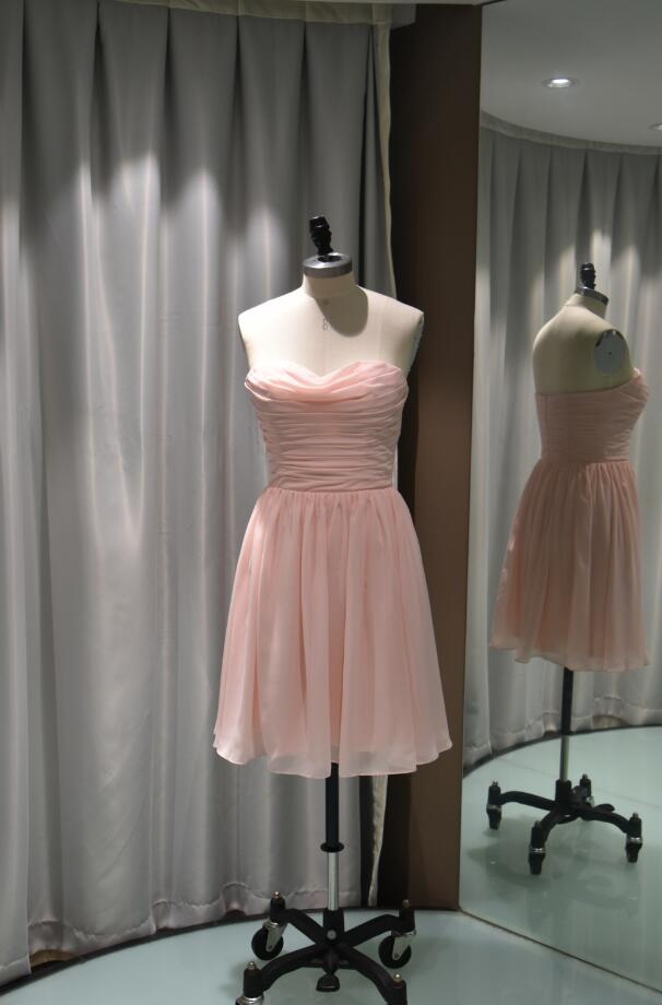 Pink Strapless Pleated A-Line Chiffon Short Bridesmaid Dress-100401