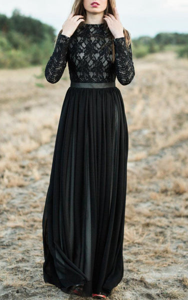 A-line Long Sleeve Chiffon&Lace Dress With Tiers-105644