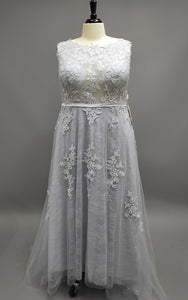 Gray Blue Lace Wedding Dress-105852
