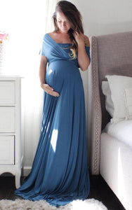 {DorrisDress}{Maternity Bridesmaid Dress}-{105857}-front in ocean blue