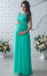 Sleeveless Sleeve Chiffon&Lace Maternity Dress-106352