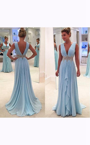 Sleeveless V-neck Long Chiffon Ruffled Dress with V-back-107313