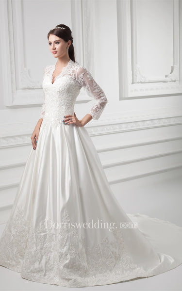 Charming Satin Sleeve V Neck Wedding Dresses