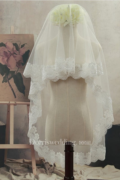 2018 Simple Tulle Fingertip Wedding Veil with Lace Edge