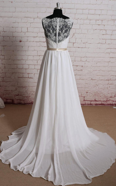 Chiffon A-Line Sleeveless Lace-Bodice Dress With Illusion Back