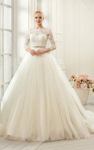 Ball Gown Long Bateau Long-Sleeve Deep-V-Back Tulle Lace Dress With Appliques And Waist Jewellery