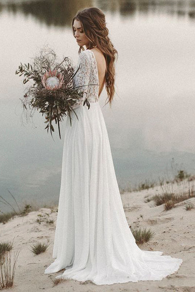 Simple Long Sleeves A-line Wedding Dress with Lace And V-neck