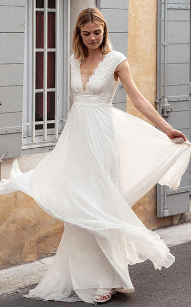 Bohemian V-neck Chiffon Lace A Line Short Cap Sleeve V Back Wedding Dress with Sweep Train
