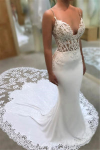 Sexy Plunging Spaghetti Lace Bodice Bridal Gown With Cathedral Train