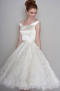 Simple Satin and Lace Cap-Sleeve Tea-length Bridal Gown with Bow