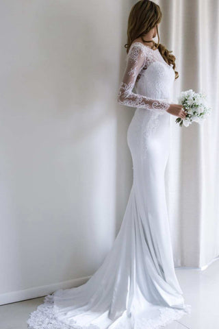 Elegant Bateau Lace Long Sleeve Sheath Wedding Dress With Sweep Train
