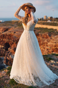 A-line Long Sleeve Plunging Neckline Lace Wedding Dress with Deep V-back
