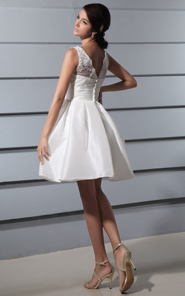 Deep Satin Sash Bow V-Back Brilliant Lace Gown