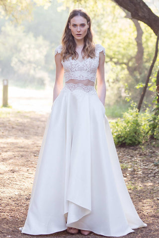 V-Neck Cap-Sleeve Two-Piece A-Line Satin Wedding Dress With Appliques