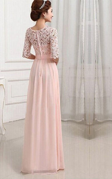 Scoop Long Wedding Gown With Lace Bodice and Belt-309598