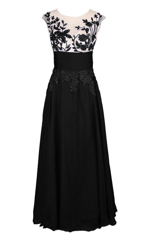 Cap-sleeved A-line Gown With Appliques and Keyhole-310612