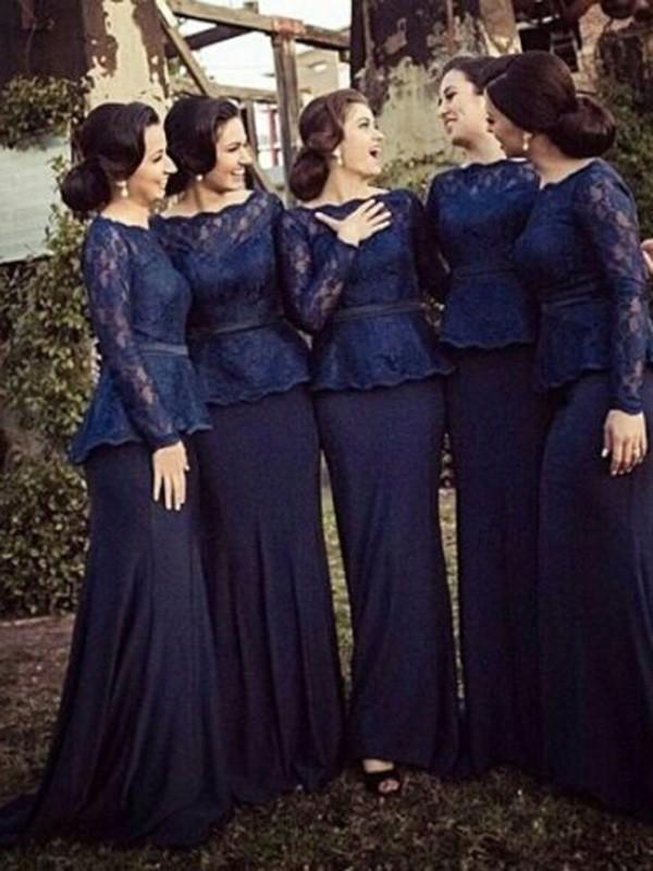 Sheath Bateau Long Sleeves Sweep Train Lace Chiffon Bridesmaid Dresses-314003