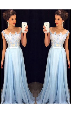 A-Line Princess Sleeveless Sheer Neck Applique Chiffon Sweep Brush Train Dresses-317438