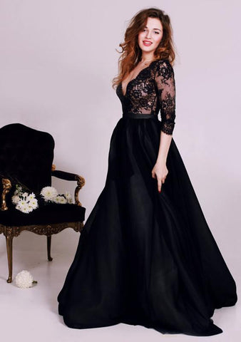 Sexy Black Lace Appliques V-neck 2018 Evening Dress 3-4-Length Sleeve A-line-318822