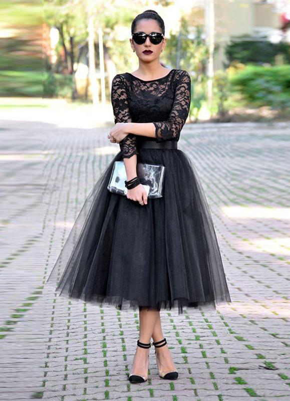Sexy Black Lace 3 4 Sleeve Prom Dresses 2016 Tulle Tea-Length-318851