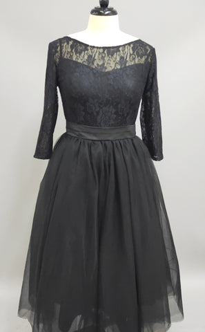 Sexy Black Lace 3 4 Sleeve Prom Dresses 2018 Tulle Tea-Length-z318851