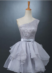 701af607a3c40 Lovely One-shoulder Short Chiffon Homecoming Dress Lace-up With  Bowknot-319371