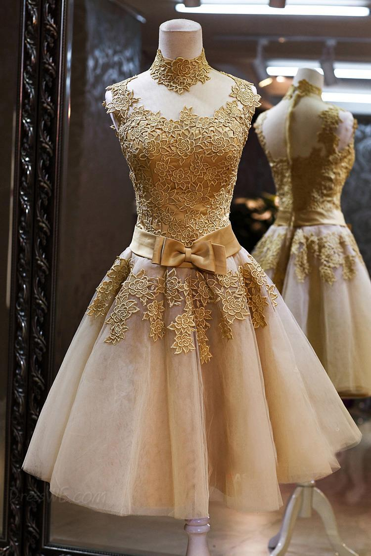 Gorgeous High Neck Sleeveless Golden Appliques Tulle Short Prom Dress-319512