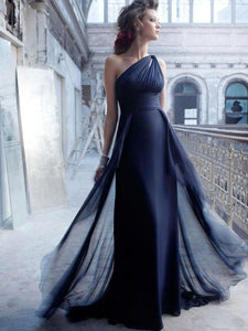 Elegant One Shoulder Long Chiffon Prom Dress-322695
