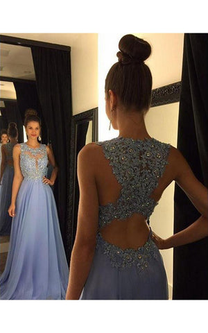 Beautiful Lace Appliques Sleeveless Prom Dress 2018 Long Chiffon Party Gowns-323624