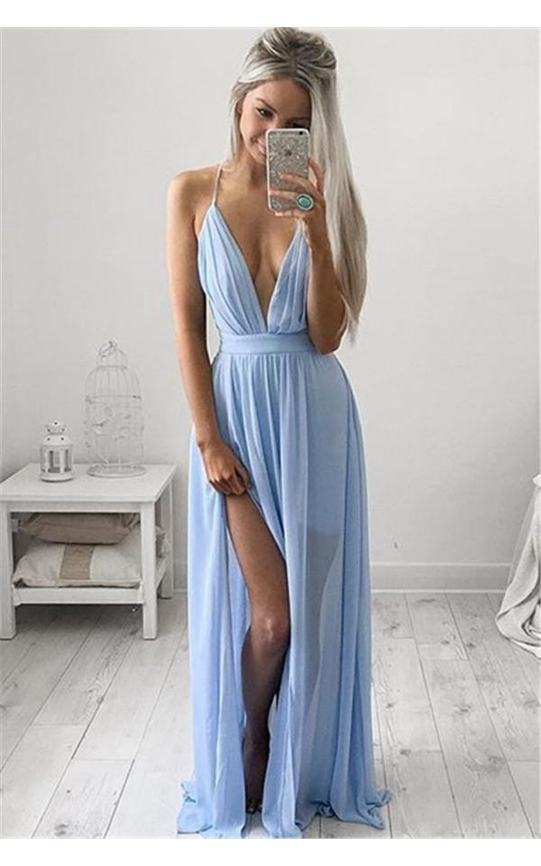 Elegant V-Neck Long Prom Dress Chiffon Floor Length