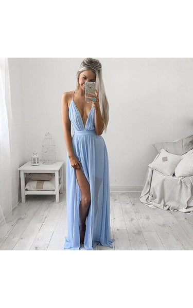 Elegant V-Neck Long Prom Dress Chiffon Floor Length-324649