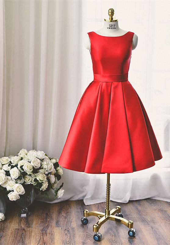 High Quality Bateau Red Short Homecoming Dress Bowknot-324749