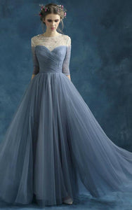 A-line Half Sleeve Long Draping Beading Tulle Dress-331249