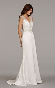 Shimmering Cap Sleeve Charmeuse Dress With Beaded Embroidered Sheer Back