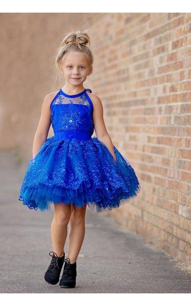 Newest Royal Blue Lace Appliques 2016 Flower Girl Dress-401403