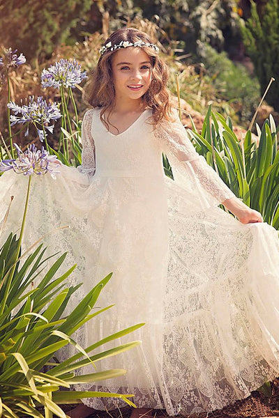 Lace Bohemian Simple Flower Girl Dress With Bell Sleeves-402465